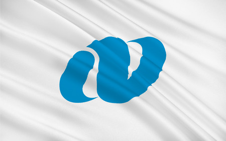 kyushu: Flag of Nagasaki Prefecture is a prefecture of Japan located on the island of Kyushu. 3D rendering