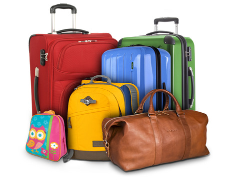 portmanteau: Luggage consisting of large suitcases, rucksack and travel bag isolated on white background