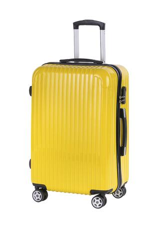 Plastic large suitcase isolated on white background Banco de Imagens - 60681015