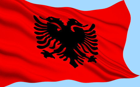 doubleheaded: The Flag of Albania is a red flag, with a silhouetted black double-headed eagle in the center, that represents the sovereign state of Albania located in the Balkans.