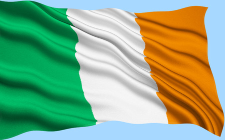 represents: Flag of Ireland - frequently referred to as the Irish tricolor. The green represents the Gaelic tradition of Ireland, the orange represents the followers of William of Orange, and the white represents the aspiration for peace between them.