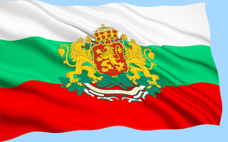 Flag of Bulgaria - adopted after the Russo-Turkish War (1877 - 1878), where Bulgaria gained independence. The current flag was re-established with the 1991 Constitution of Bulgaria and was confirmed in a 1998 law. Stock Photo