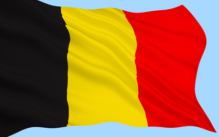 Flag of Belgium - The colors were taken from the coat of arms of the Duchy of Brabant, and the vertical design may be based on the flag of France. Adopted 23rd January 1831. Stock Photo