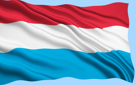 fabric surface: 3D Luxembourg flag with fabric surface texture. White background. Stock Photo