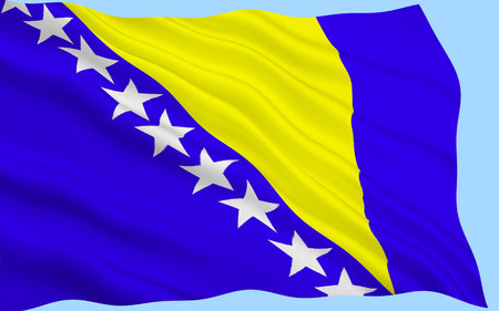 former yugoslavia: Flag of Bosnia and Herzegovina. The three points of the triangle stand for the three peoples of Bosnia and Herzegovina: Bosniaks, Croats, and Serbs.