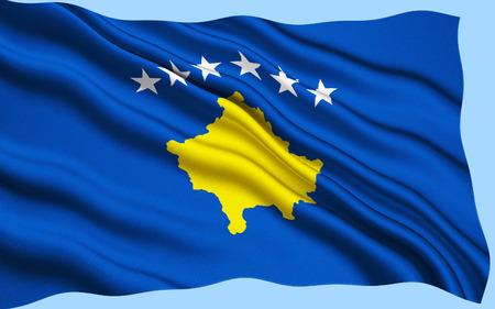 immediately: The flag of the Republic of Kosovo was adopted by the Assembly of Kosovo immediately following the declaration of independence of the Republic of Kosovo from Serbia on 17th February 2008. Stock Photo