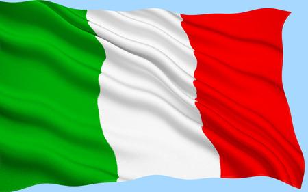 Big Italian Flag waving on satin texture.