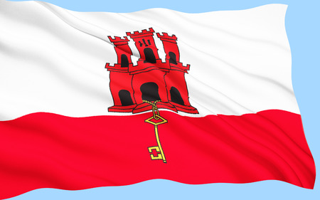 Flag of Gibraltar - The coat of arms of Gibraltar, granted by Royal Warrant from Queen Isabella 1st of Castile on 10 July 1502. Gibraltar is a British overseas territory near the southern tip of the Iberian peninsula.