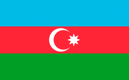 Flag of Azerbaijan officially the Republic of Azerbaijan is a country in the Transcaucasian region, situated at the crossroads of Southwest Asia and Southeastern Europe. Stock Photo