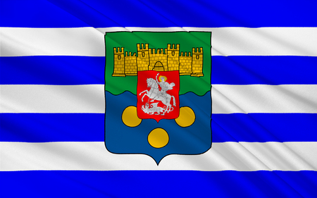 georgian: Flag of Adjara officially known as the Autonomous Republic of Adjara is an historical, geographic and political-administrative region of Georgia. 3d illustration Stock Photo