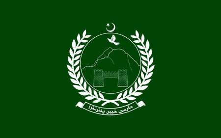 islamabad: Flag of Khyber Pakhtunkhwa is one of the four provinces of Pakistan, located in the northwestern region of the country. 3D illustration