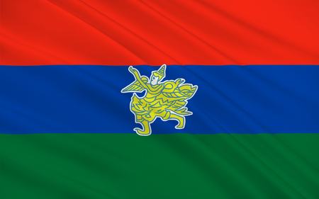 burmese: Flag of Kayah State is a state of Myanmar. 3D illustration