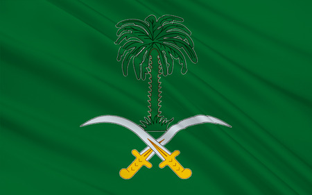 peninsula: Flag of Saudi Arabia is an Arab state in Western Asia constituting the bulk of the Arabian Peninsula. 3D illustration Stock Photo