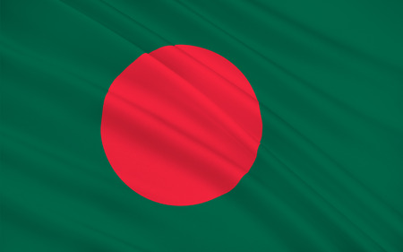 south asia: Flag of Bangladesh officially the Peoples Republic of Bangladesh is a sovereign country in South Asia. 3D illustration Stock Photo