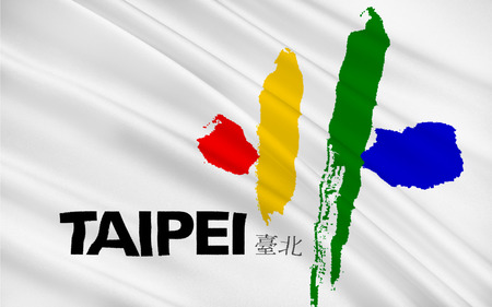 municipality: Flag of Taipei officially known as Taipei City is the capital city and a special municipality of the Republic of China, commonly known as Taiwan. 3d illustration