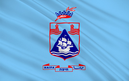 Flag of Haifa the third-largest city in the State of Israel. 3d illustration