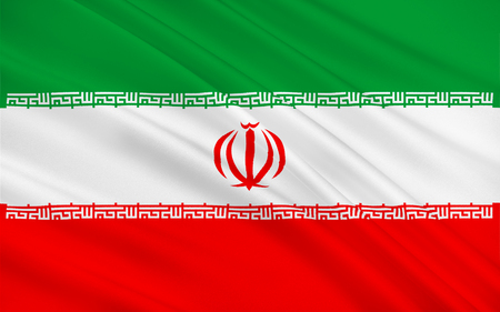 Flag of Iran also known as Persia officially the Islamic Republic of Ira is a sovereign state in Western Asia. 3D illustration