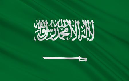 Flag of Saudi Arabia is an Arab state in Western Asia constituting the bulk of the Arabian Peninsula. 3D illustration Stock Photo