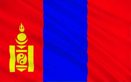 east asia: Flag of Mongolia is a landlocked sovereign state in East Asia. 3d illustration Stock Photo
