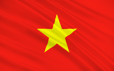 Flag of Vietnam officially the Socialist Republic of Vietnam is the easternmost country on the Indochina Peninsula in Southeast Asia. 3D illustration Stock Photo