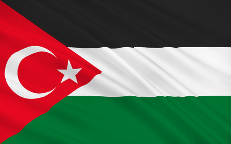 gaza: Flag of Gaza City is Palestinian city in the Gaza Strip it the largest city in the State of Palestine. 3d illustration