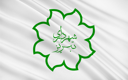 populated: Flag of Tabriz pronounced is the most populated city in the Iranian Azerbaijan, one of the historical capitals of Iran, and the present capital of East Azerbaijan Province. 3D illustration