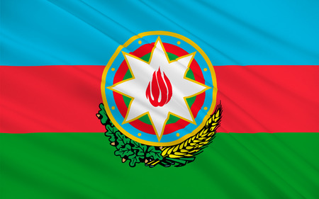 Flag of Azerbaijan officially the Republic of Azerbaijan is a country in the Transcaucasian region, situated at the crossroads of Southwest Asia and Southeastern Europe. 3D illustration