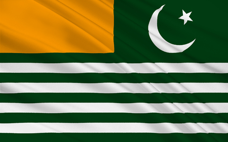islamabad: Flag of Azad Jammu and Kashmir abbreviated as AJK and commonly known as Azad Kashmir, en English The Free State Jammu and Kashmir is a self-governing administrative division of Pakistan. 3D illustration Stock Photo