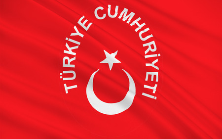largely: Flag of Turkey officially the Republic of Turkey is a parliamentary republic in Eurasia, largely located in Western Asia, with the smaller portion of Eastern Thrace in Southeast Europe. 3D illustration Stock Photo