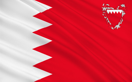 raise the white flag: Flag of Bahrain officially the Kingdom of Bahrain is an island country situated near the western shores of the Persian Gulf in the Middle East. 3d illustration