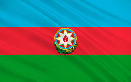 southeastern: Flag of Azerbaijan officially the Republic of Azerbaijan is a country in the Transcaucasian region, situated at the crossroads of Southwest Asia and Southeastern Europe. 3D illustration