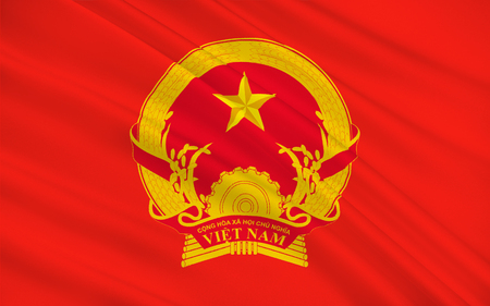 indochina peninsula: Flag of Vietnam officially the Socialist Republic of Vietnam is the easternmost country on the Indochina Peninsula in Southeast Asia. 3D illustration Stock Photo