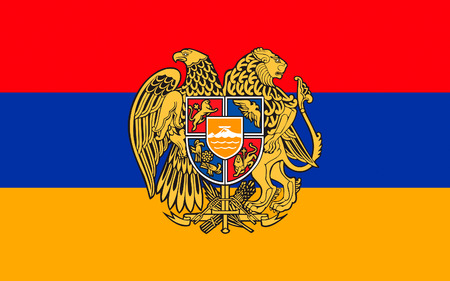 eurasia: Flag of Armenia officially the Republic of Armenia is a sovereign state in the South Caucasus region of Eurasia. Located in Western Asia. Stock Photo