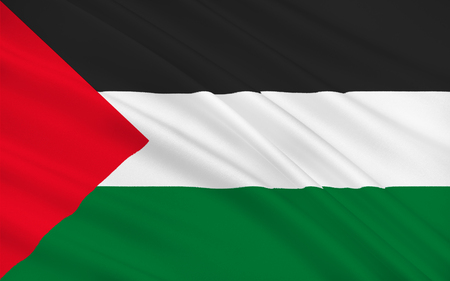 Flag of Palestine is a state in the Middle East. 3d illustration