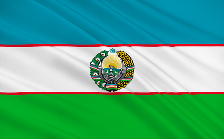 Flag of Uzbekistan officially the Republic of Uzbekistan is a doubly landlocked country in Central Asia. 3D illustration Stock Photo