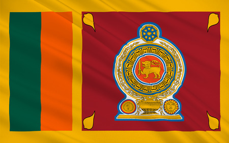 india 3d: Flag of Sri Lanka officially the Democratic Socialist Republic of Sri Lanka is an island country in South Asia near south-east India. 3D illustration