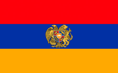 soviet flag: Flag of Armenia officially the Republic of Armenia is a sovereign state in the South Caucasus region of Eurasia. Located in Western Asia. Stock Photo