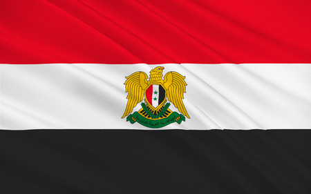 Flag of Syria officially the Syrian Arab Republic, is a country in Western Asia. 3D illustration