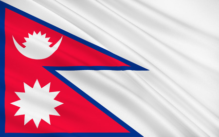 landlocked country: Flag of Nepal officially the Federal Democratic Republic of Nepal is a federal republic and landlocked country in South Asia. 3D illustration Stock Photo