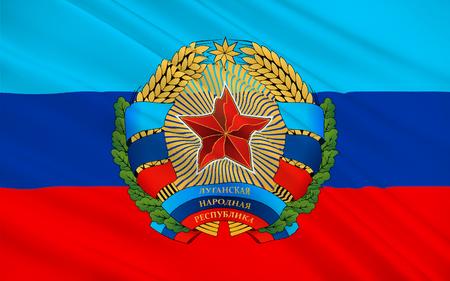 peoples: Flag of Luhansk Peoples Republic (LPR or LNR), also known as Lugansk Peoples Republic is a self-proclaimed state in eastern Ukraine. 3d illustration