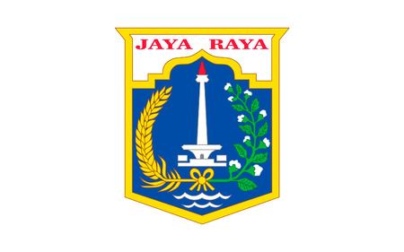 sumatra: Flag of Jakarta officially known as the Special Capital Region of Jakarta is the capital and largest city of the Republic of Indonesia. 3D illustration