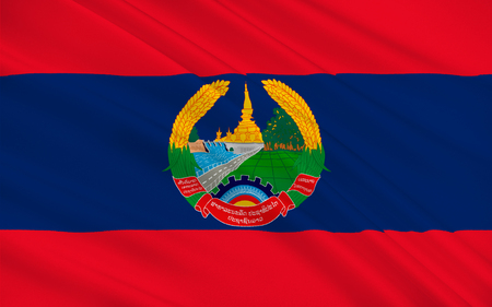 landlocked country: Flag of Laos officially the Lao Peoples Democratic Republic (LPDR) is a landlocked country in the heart of the Indochinese peninsula of Mainland Southeast Asia. 3d illustration Stock Photo