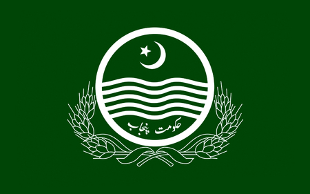 spelt: Flag of Punjab also spelt Panjab, is the most populous of the four provinces of Pakistan. 3D illustration Stock Photo