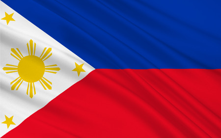 filipino: Flag of Philippines officially known as the Republic of the Philippines is a sovereign island country in Southeast Asia situated in the western Pacific Ocean. 3D illustration Stock Photo
