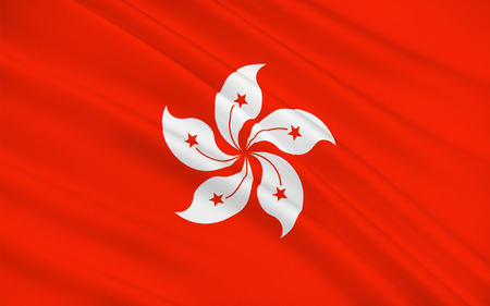 people's republic of china: Flag of Hong Kong officially Hong Kong Special Administrative Region of the Peoples Republic of China, is autonomous territory on the southern coast of China. 3d illustration