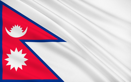 south asia: Flag of Nepal officially the Federal Democratic Republic of Nepal is a federal republic and landlocked country in South Asia. 3D illustration Stock Photo