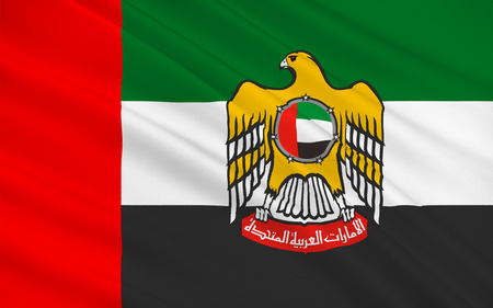 gulf: Flag of United Arab Emirates sometimes simply called the Emirates or the UAE, is a country located at the southeast end of the Arabian Peninsula on the Persian Gulf. 3D illustration Stock Photo