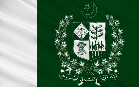 Flag of Pakistan officially the Islamic Republic of Pakistan, is a country in South Asia. 3D illustration