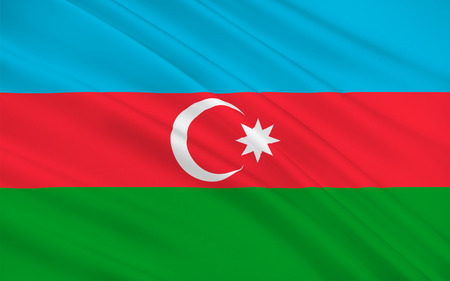 southeastern asia: Flag of Azerbaijan officially the Republic of Azerbaijan is a country in the Transcaucasian region, situated at the crossroads of Southwest Asia and Southeastern Europe. 3D illustration
