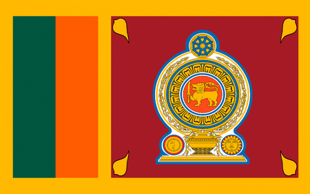 Flag of Sri Lanka officially the Democratic Socialist Republic of Sri Lanka is an island country in South Asia near south-east India. Stock Photo